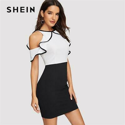 1cd2c59286 SHEIN Black and White Ruffle Cold Shoulder Two Tone Bodycon Summer Dress  Women S