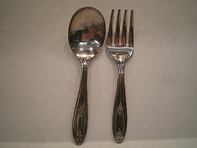 """Oneida Ltd. """"Belford"""" Two Piece Vintage Silver Baby Child Spoon And Fork Set"""