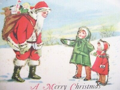 A Marry Christmas Santa with Boy Girl Talking Green Gloves Signed J.P. Postcard