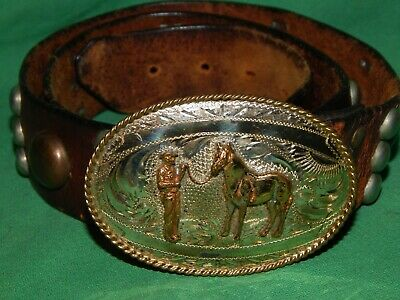 Vtg Tex Tan Sterling Silver Front Hand Made Horse Cowboy Western Belt & Buckle