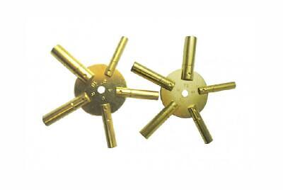 Brass Blessing : 2pc Universal 5 Prong Clock Key for Winding BRASS GOLD
