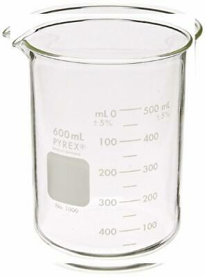Corning Pyrex 1000-600 Glass 600mL Graduated Low Form Griffin Beaker, Single