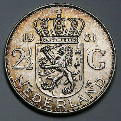 1961 Netherlands Silver 2½  / 2.5 Gulden Coin Juliana Nicely Toned