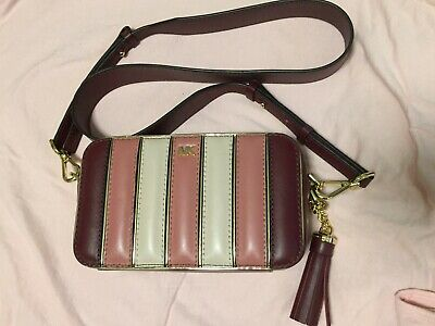 28f0c95af2948c Michael Kors Small Quilted Tri-Color Leather Camera Bag- Racing Pink Multi