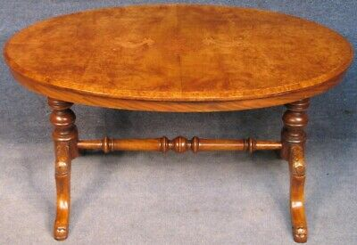 Victorian Burr Walnut Coffee Table With Oval Inlaid Top