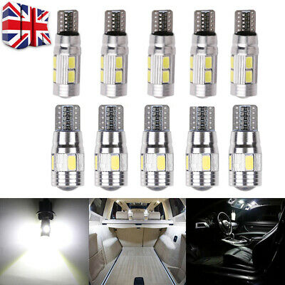 T10 501 W5W Car Side Light Bulbs Error Free Canbus 6/10 Smd Led Xenon Hid White