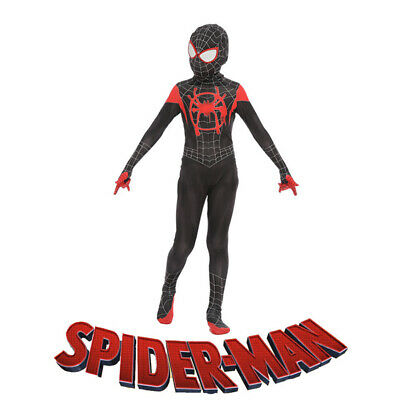 Spider Man Into the Spider Verse Costume Kid Miles Morales Cosplay Suit UK Stock