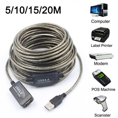 New OFC 5M/10M/15M/20M USB Active Repeater Extension Extender Cable Lead USB2.0