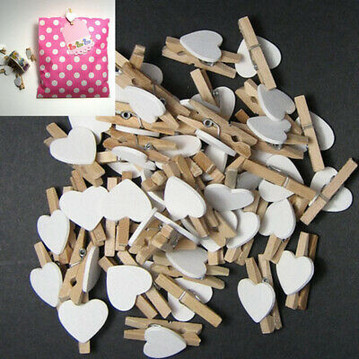 50x Mini Love Heart Wooden Clips Pegs Clothespin Photo Picture Wedding Party