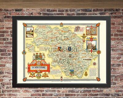 West Riding of Yorkshire, Old map 1946. Antique/Vintage reproduction