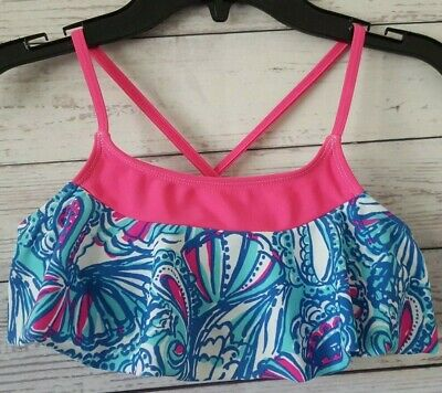 926a720a33602 LILLY PULITZER Target Blue & Pink Bikini Swimsuit Top Girls Size 10/12