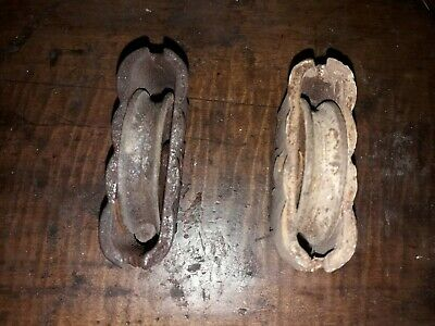 Antique Pair of Cast Iron Window Sash Pulleys Weight Rollers
