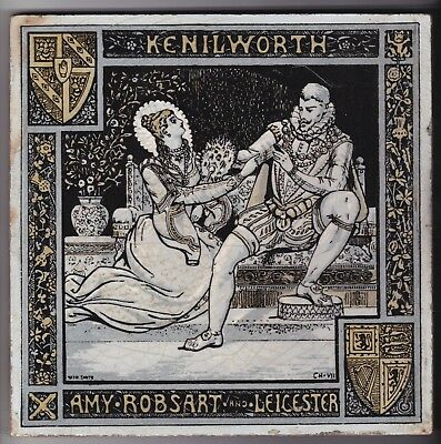 Large John Moyr Smith  Minton Tile   Kenilworth Amy. Robsart & Leicester c. 1878