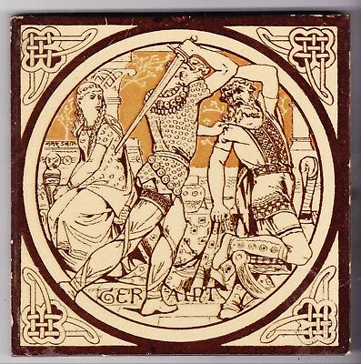 John Moyr Smith  Tile  c. 1876      Tennyson's Idylls of the King       GERAINT