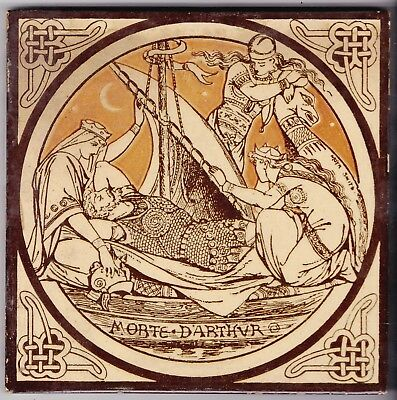 John Moyr Smith  Tile  c. 1876  Tennyson's Idylls of the King    MORTE D'ARTHUR