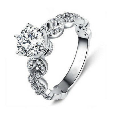Am_ Uk_ Ne_ Gn- Lady Trendy Gold Plated Cubic Zirconia Ring Wedding Engagement P