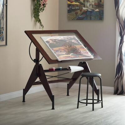 Drafting Table Drawing Desk Tilting Glass Top Architect Art Wood Furniture Board