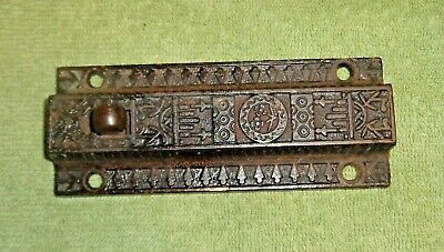 Vintage Cast Iron Decorative Door Slide Bolt Lock Latch