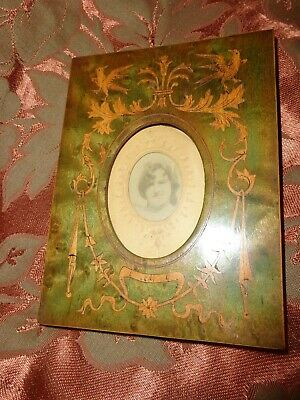 Antique Victorian Inlaid Marquetry Bird Swag Mini Table Stand Wood Photo Frame