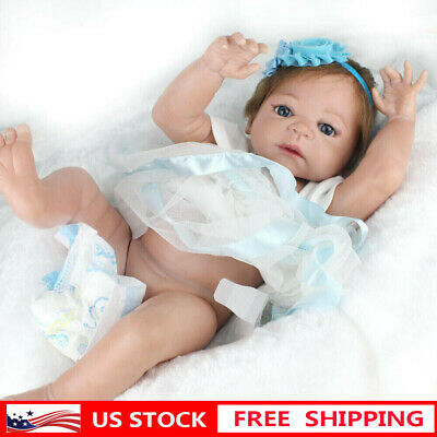 "Lifelike 22"" Full Body Vinyl Silicone Reborn Dolls Baby Newborn Doll Xmas Gifts"
