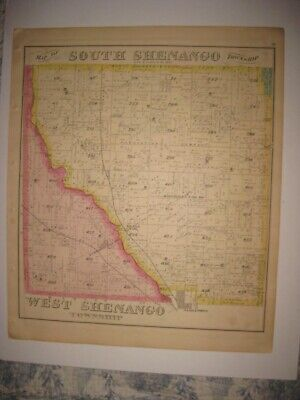 Antique 1876 West & South Shenango Township Crawford County Pennsylvania Map Nr