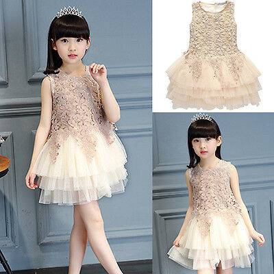 AM_ EG_ Baby Kids Girl Princess Lace Tulle Tutu Skirt Party Wedding Pageant Flor