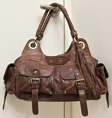 Rare! Giglio Fiorentino Italy Real Brown Leather Satchel Fringe Tassel Cargo Bag
