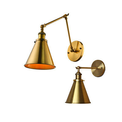 Antique Metal Brass Wall Lamp in Cone Shade Warehouse Wall Light Fixture Sconces