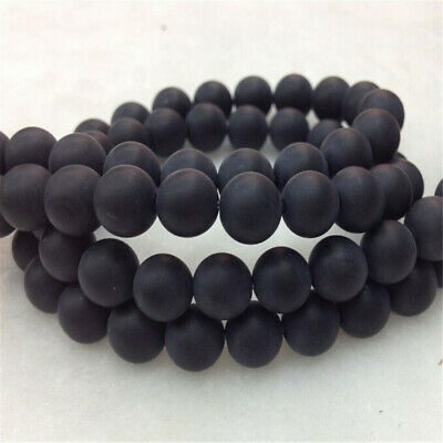 1pcs 8MM Matte Black Onyx Gemstone Loose Beads DIY Wholesale Round Accessories