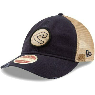 separation shoes 837f3 8a437 New Era Cleveland Indians Navy Cooperstown Collection Front Patched Trucker