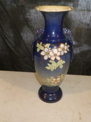 Antique Japanese Satsuma Style Pottery Vase signed Old NICE 13 IN HEIGHT