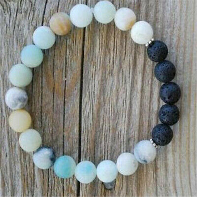 8mm Amazonite Beads Lava Stone Bracelet 7.5inches Lucky Tibet silver Buddhism