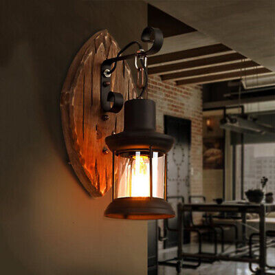 Farmhouse Vintage Wrought Iron Wall Light Wooden Canopy Sconce with Glass Shade