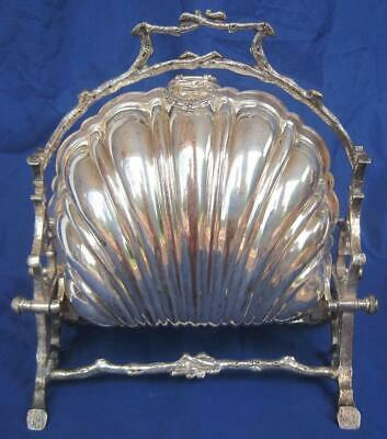 Antique William Adams Folding Shell Divided Biscuit Box 13 Silver Plate #5209
