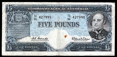 Australia: Reserve Bank. 5 pounds. TC 96 427995. Coombs-Wilson. (1960-65). (P...