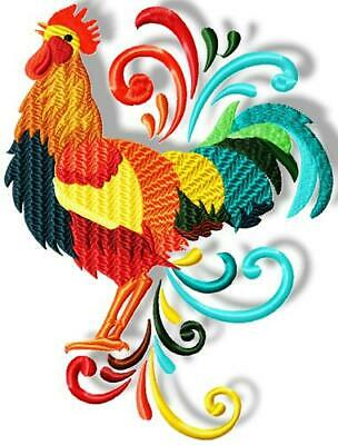 ROOSTERS AND CHICKENS  10 MACHINE EMBROIDERY DESIGNS CD or USB