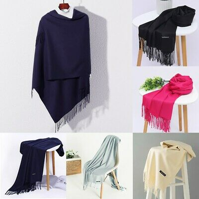 Women Winter Wrap Scarf Warm Solid Plain Color Long Pashmina Shawl Ladies Stole