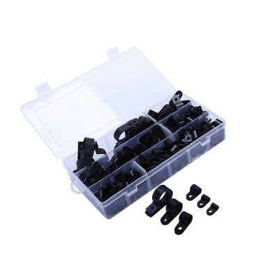 1X(High Quality Assorted Box of Black Nylon Plastic P Clips - 200 Pieces W9J3)