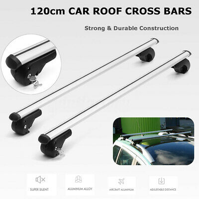 120cm Universal Aluminium Car Top Roof Bars Rack Lockable Locking Cross Rails