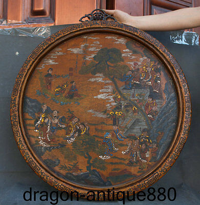 """25 """"Ancient Chinese lacquered wood Dynasty history wall hanging panel plate"""