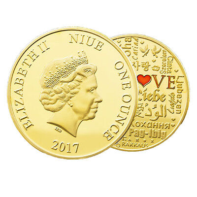 AM_ LK_ Gold Plated Love Letter II Avatar Niue Commemorative Coin Collection Rel