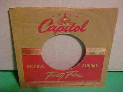 Original Capitol Vintage 7 Inch 45 Rpm Sleeve Only No Record