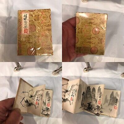 Antique Or Vintage Chinese Hand Made Painting Form Of Book Signed