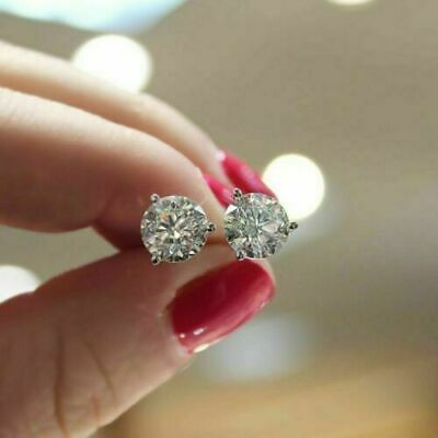 2.00 Ct Round Cut Diamond Solitaire Stud Earrings Solid 14K White Gold Over