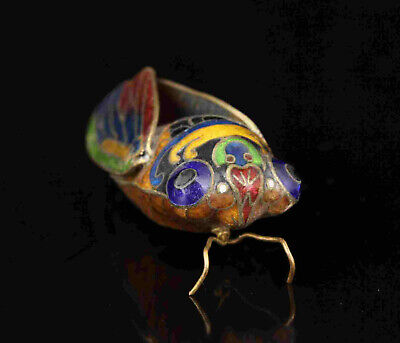 China Old Collectible Hand-Carved Red Copper Cloisonne Cicada Statue Gift