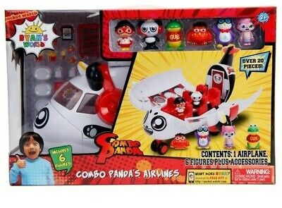 Ryan's World Unboxing Toy Combo Panda's Airlines Airplane Set With 6 Figures NEW