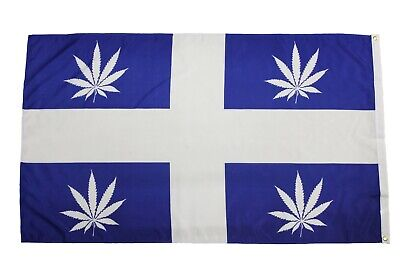 QUEBEC CANADA Provincial & CANNABIS LEAVES Combo 3' x 5' Feet Flag Banner..New