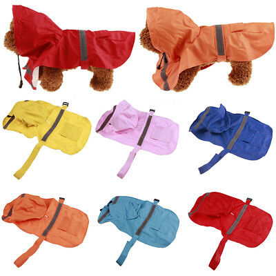 Am_ Eg_ Dog Hooded Raincoat Rain Coat Pet Jacket Puppy Outdoor Waterproof Coat F