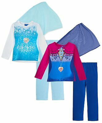 Girls Disney Frozen Dress Up Pyjamas With Cape Kids Novelty Elsa Anna Pjs Size