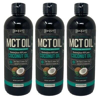 ONNIT (3 Pack) Premium MCT Oil 100% Pure Coconut Oil 24oz Unflavored Keto Diet